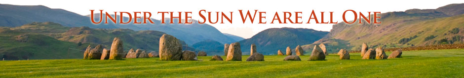 "Image of landscape with the words ""Under the Sun We are All One"""